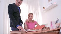 Amazed tutor finds out the ginger babe wears no panties - 69VClub.Com