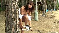 Busty teen Rita masturbate outdoors
