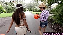 Halloween chicks giving out free blowjobs for candy