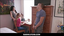 MILF Step Mom Becky Bandini And Teen Step Daughter Help Step Son With Blue Balls POV thumbnail