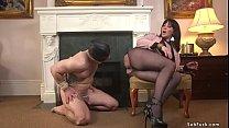 Busty MILF femdom whips gimp slave