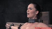 Flogged sub restrained over a sybian pornhub video