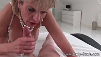 MILF Lady Sonia strip and suck intruders dick preview image