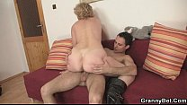 Old bitch jumps on young cock video