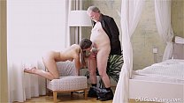 8024 Young Kira was feeling pretty horny and even though this dude was old she had to preview