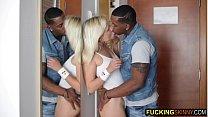Screenshot Beautiful blond e teen plays with big black di th big black dick