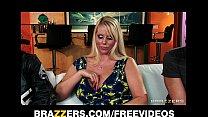 Slutty blonde MILF Karen Fisher is slammed on the couch video