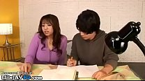 Japanese home teacher in stockings provokes student porn image
