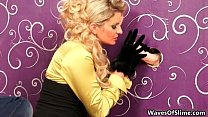 Nasty blonde babe blows two huge cocks