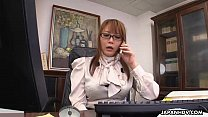 Hinata Komine having a tele-meeting where she masturbates thumbnail
