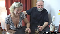 Old Couple With Son's Teen Gf Threesome Family