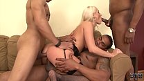 Horny blonde interracial anal gandbang then swallows cum like a slut صورة