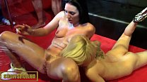 Threesome with hot babes in public