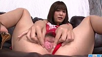 Momoka Rin shows off in red lingerie masturbating pornhub video