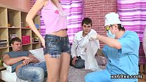 Physician watches hymen examination and virgin kitten reaming