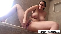 Alison tyler rubs herself to completion in a giant steamy shower