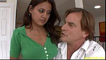 Bad stepfather fucks tight pussy his beauty brunette daughter