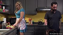 Milf and step dad torments teen