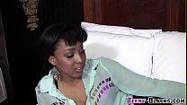 Ebony teen tugs facial