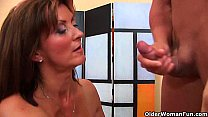 Horny milf gets a facial from the guy next door Thumbnail
