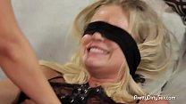Blindfolded Lesbian Strapon Drilled