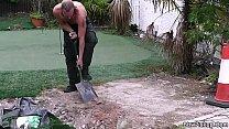 He doggy-fucks blonde plumper after blowjob