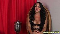 Solo tgirl pornstar with bigtits masturbating
