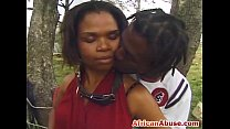 African chick outdoor licks sucking black cock