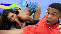Horny black teen gets caught by his stepmom jerking off