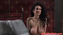 Inked bdsm sub tied up and slapped by maledom thumbnail