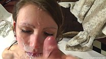 Pretty brunette amateur gets a sticky facial