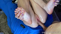 Teen feet made him creampie POV
