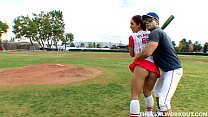 Kylee Strutt practiced on her baseball coach in...