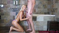 Hot blonde eurobabe Karol Lilien sucks cock in ...