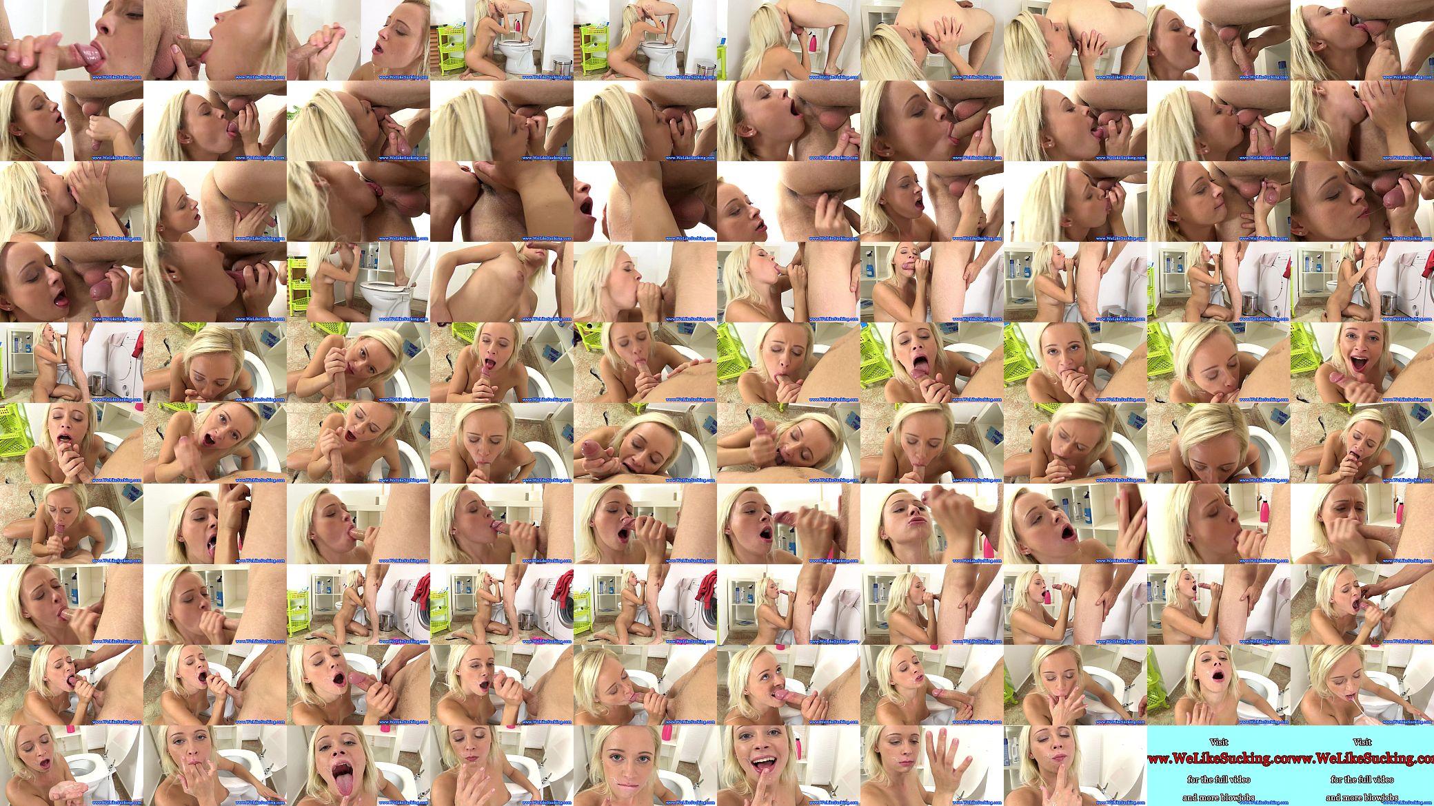 Dicksucking loving blonde handles dick