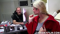 CFNM - clothedBossy bitch uses her employee for...