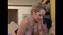 Blonde MILF with short hair sucks cock before getting fucked