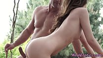Gorgeous babe anally riding cock outdoors