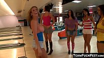 Naughty Pornstar babes pick up and fuck a lucky random dude