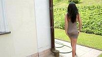 Black haired Babe Tereza in Urgent Need - Masturbation Outdoors