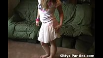 Petite teen Kitty flashing her panties in a tin...