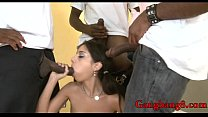 Nasty teen Trinity St Clair ass fucked by big black shafts Image