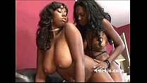 Thick big tit lesbian sistas use same strap-on to fuck their black pussies