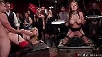 Busty slaves in bondage anal fucked orgy thumbnail