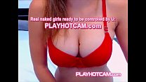 Live Hotties On PLAYHOTCAM Goodies Can Barely Fit In That Tight Red Bra