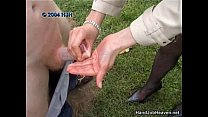 A lucky guy gets an outdoor amateur handjob