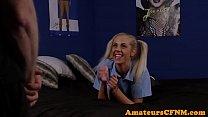 CFNM schoolgirl blows and jerks hard cock