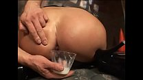 Randy brunette bitch Veronica Rayne kisses the cup with hot anal creampie after dancing back door boogie