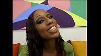 Nasty black girl Amerika is fucked from behind in her shiny black ass on couch