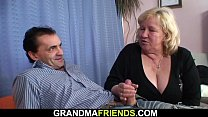 Busty blonde old grandma swallows two cocks video